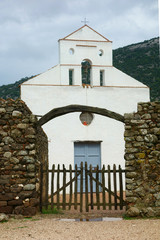 Chiesa di San Pietro di Golgo just before a severe storm, Sardinia, Italy