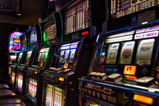 Las Vegas, Nevada-March 10, 2017: Casino machines in the entertainment area at night
