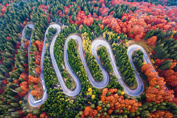 Winding road from high mountain pass, in autumn season, with orange forest. Aerial view by drone. Romania