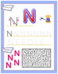Worksheet for kids with letter N for study English alphabet. Logic puzzle game. Developing children skills for writing and reading. Vector cartoon image.