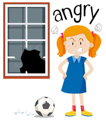 Angry girl with broken window