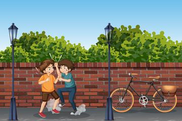 Teenager fighting on street