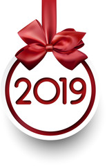 White 2019 New Year card with red satin bow.