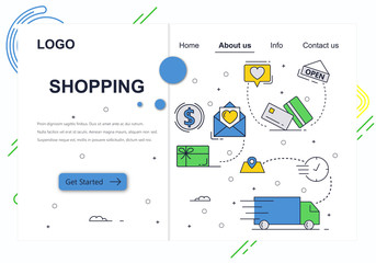 Vector web site linear art design template. Online shopping, money payment and package delivery. Landing page concepts for website and mobile development. Modern flat illustration.
