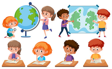 Children with learning tools on white background