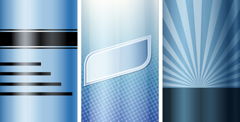 Set of blue blank template