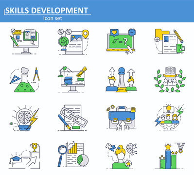 Vector set of online education, leadership and business icons in thin line style. Website UI and mobile web app icon. Outline design illustration.