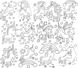 Fotobehang Cartoon draw Super Cute Unicorn Doodle Vector Illustration Set