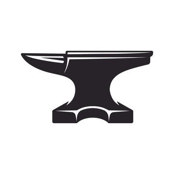 Vintage anvil, monochrome icon, blacksmith tools. Vector illustration, isolated on white background. Simple shape for design logo, emblem, symbol, sign, badge, label, stamp.