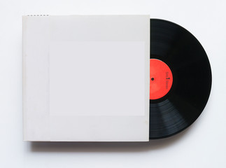 12-inch LP vinyl record with blank label on white background