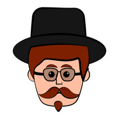 Isolated hipster avatar with glasses. Vector illustration design