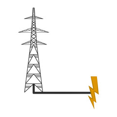 Electrical tower connected to an energy symbol. Vector illustration design