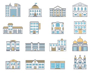 Buildings set. Residential cottages, store, mall, shop, museum, hospital, library, bank, cinema, religion, police, fire, school, university building isolated on white background.