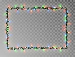 Christmas lights border vector, light string frame isolated on dark background with copy space. Tran