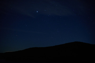 Mountains in Pennsylvania silhouetted against a dark, starry sky.