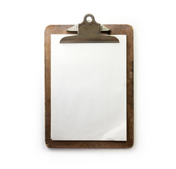 Old used clipboard with sheets of paper and slightly folded corner. dark brown clipboard. Isolated on white.