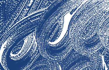Grunge texture. Distress indigo rough trace. Excep