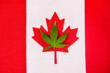 Canadian flag with cannabis leaf