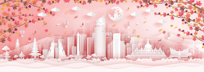 Fototapete - Panorama postcard of world famous landmarks of Indonesia with falling maple leaves in paper cut style vector illustration