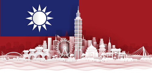 Fototapete - Taipei flag and famous landmarks in paper cut style vector illustration.