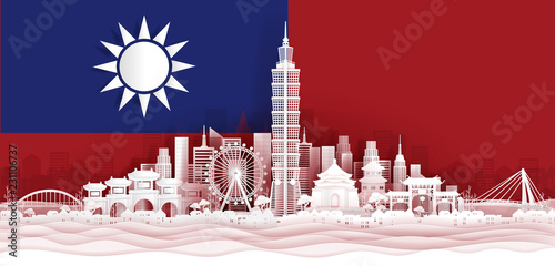 Fototapete Taipei flag and famous landmarks in paper cut style vector illustration.