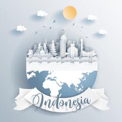 Fototapete - Indonesia landmarks on earth in paper cut style vector illustration.