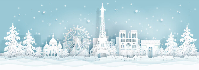 Fototapete - Panorama postcard and travel poster of world famous landmarks of Paris ,France in winter season in paper cut style vector illustration
