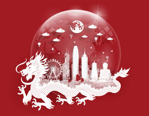 Fototapete - Hong Kong landmarks with dragon in a glass ball of world map in paper cut style vector illustration. Travel poster, post card and tour company.
