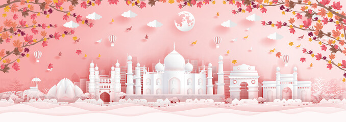 Fototapete - Autumn in India with falling maple leaves in paper cut style vector illustration