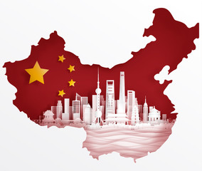 Wall Mural - Shanghai, China flag with world famous landmarks in paper cut style vector illustration