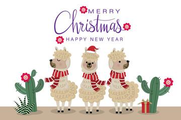 Merry Christmas greeting card with cute alpaca wear red scarf. Animal wildlife cartoon character.