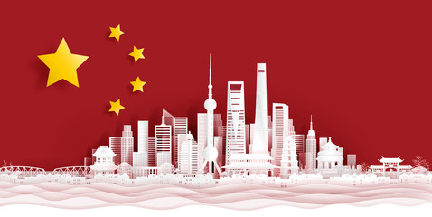Fototapete - Panorama postcard and travel poster of world famous landmarks of Shanghai, China skyline with flag concept in paper cut style vector illustration