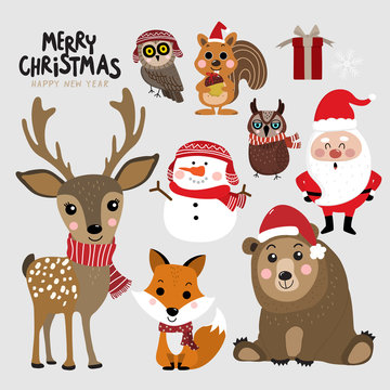 Cute forest animals and Santa Clause in Christmas holidays. Wildlife cartoon character vector set. Santa Clause, snowman, deer, bear, owl, fox and squirrel in winter costume.