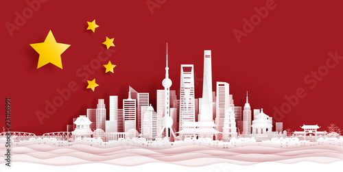 Fototapete Panorama postcard and travel poster of world famous landmarks of Shanghai, China skyline with flag concept in paper cut style vector illustration