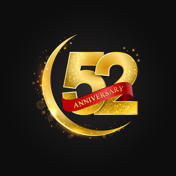 Eid al Adha 52 years anniversary.Pattern with arabic golden, gold half moon and glitter.Vector illustration of greeting cards, covers, prints.