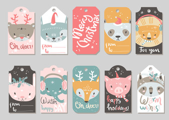 Collection of vector Christmas and New Year cute ready-to-use gi