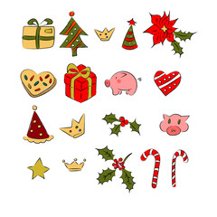 Christmass set of patch logo, omela, gift, pig, cookies