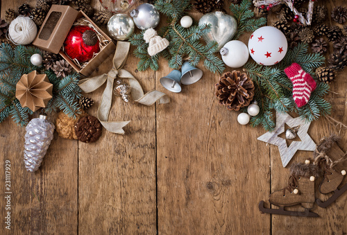 Christmas Wood Background.Christmas Wooden Background And Decor With Copy Space