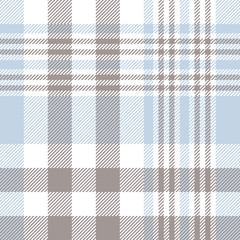 Nautical plaid pattern in pale blue, taupe brown and white. Seamless fabric texture.