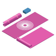 Yoga mat rolled and open yoga block in pink color vector illustration EPS10
