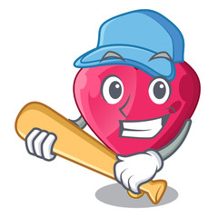 Playing baseball chocolate heart on ice cream cartoon