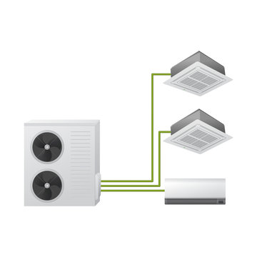 Air conditioning. Vector illustration. Multi split system. One outdoor and three indoor unit. Ceiling Cassette and wall mounted.