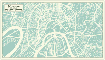 Moscow Russia City Map in Retro Style. Outline Map.