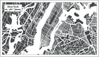 New York USA City Map in Retro Style. Outline Map.