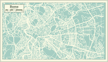 Rome Italy City Map in Retro Style. Outline Map.