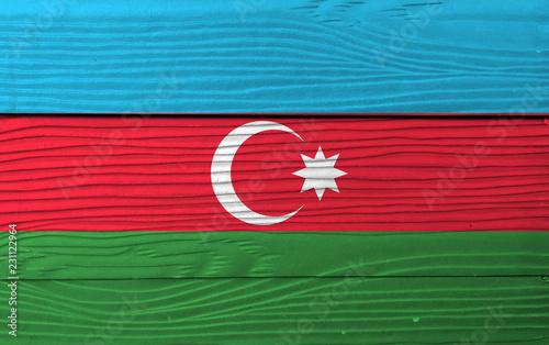 Flag Of Azerbaijan On Wooden Wall Background Grunge Azerbaijan Flag