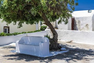 Stone bench In a Greek monastery