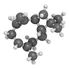 Caryophyllene molecule. Constituent of multiple herbal essential oils, including clove oil. 3D rendering. Atoms are represented as spheres with conventional color coding.