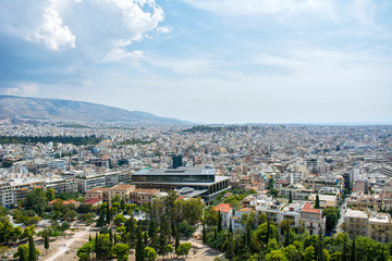 View from the Akropolis, the Pantheon in Athens, Greece