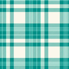Plaid pattern in teal green and ivory. Seamless fabric texture.